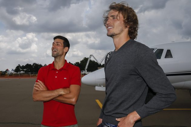 Novak Đoković i Aleksander Zverev avion slika