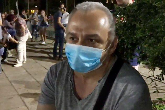 Milenko Marković na protestu