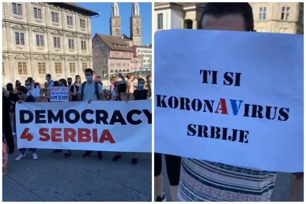 Srbi u dijaspori, protesti, Švajcarska