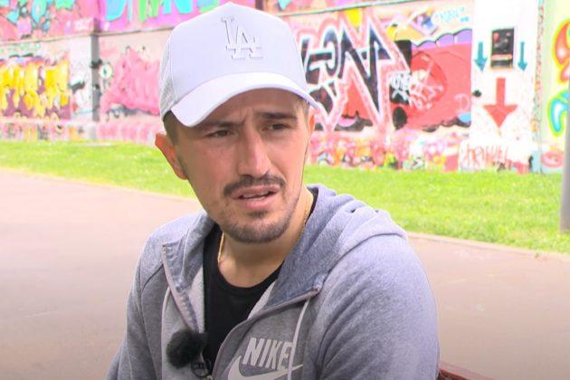 Bokser Gogi Knežević daje izjavu za televizuju