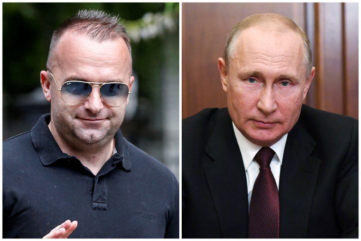 Portreti fudbalera Ognjena Koromana i predsednika Rusije Vladimira Putina
