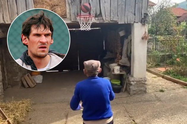 Deda Boban Marjanovic igra kosarku