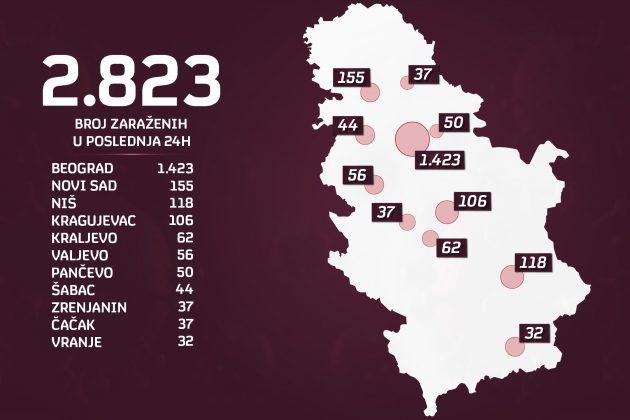 Mapa zaraženih u Srbiji