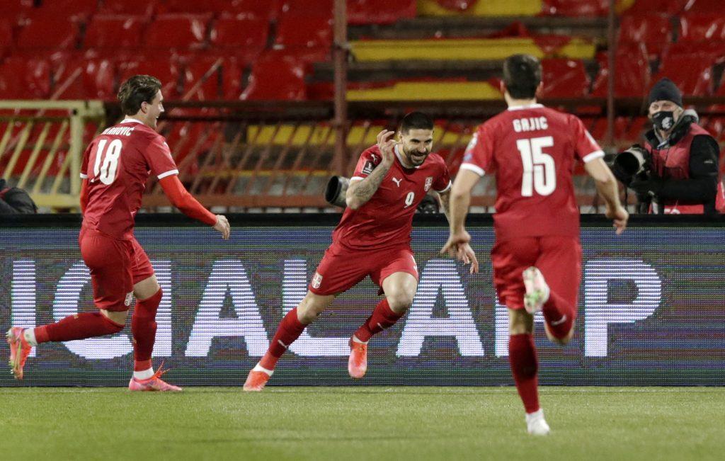 Aleksandar Mitrović slavi gol za reprezentaciju Srbije