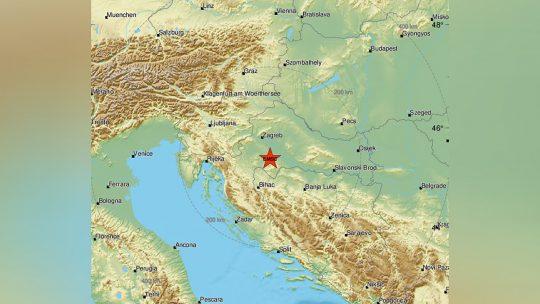 Hrvatska, zemljotres, mapa
