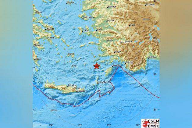Grčka, Rodos, zemljotres, mapa