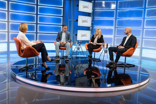 Olja Bećković, Milan Dumanović, Bojana Jovanović i Bojan Elek, emisija Utisak nedelje