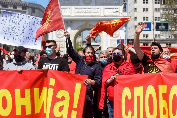 Protest Skoplje za oslobadjanje osudjenih zbog nasilja u Sobranju