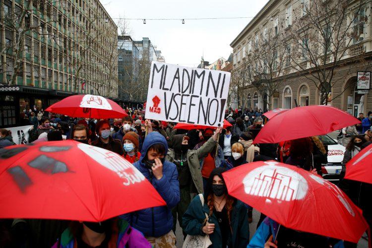 Protest, Ljubljana, Slovenija, protest protiv Janeza Janse