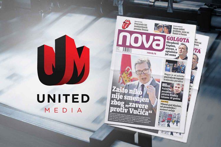 United Media, Junajted medija, dnevni list Nova, novine Nova