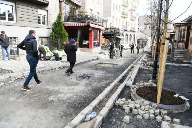 skadarska ulica, skadarlija radovi u ulici asfaltiranje ulice trotoari