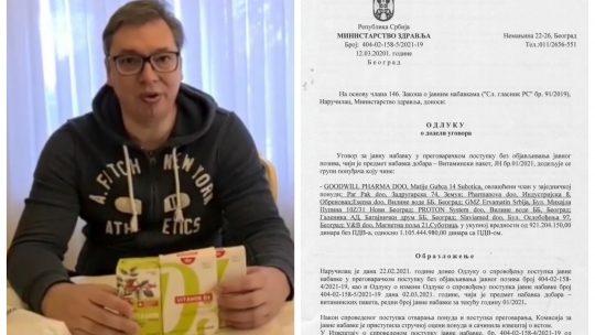 Aleksandar Vučić vitamini za penzionere, Ugovor o vitaminima