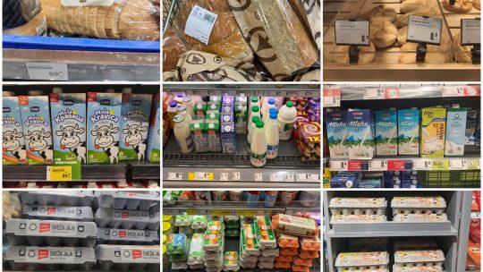 Hleb, mleko, jaja, namirnice, proizvodi, hrana, cene, Srbija, Hrvatska, Slovenija