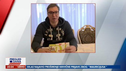 Aleksandar Vučić, vitamini, Pregled dana