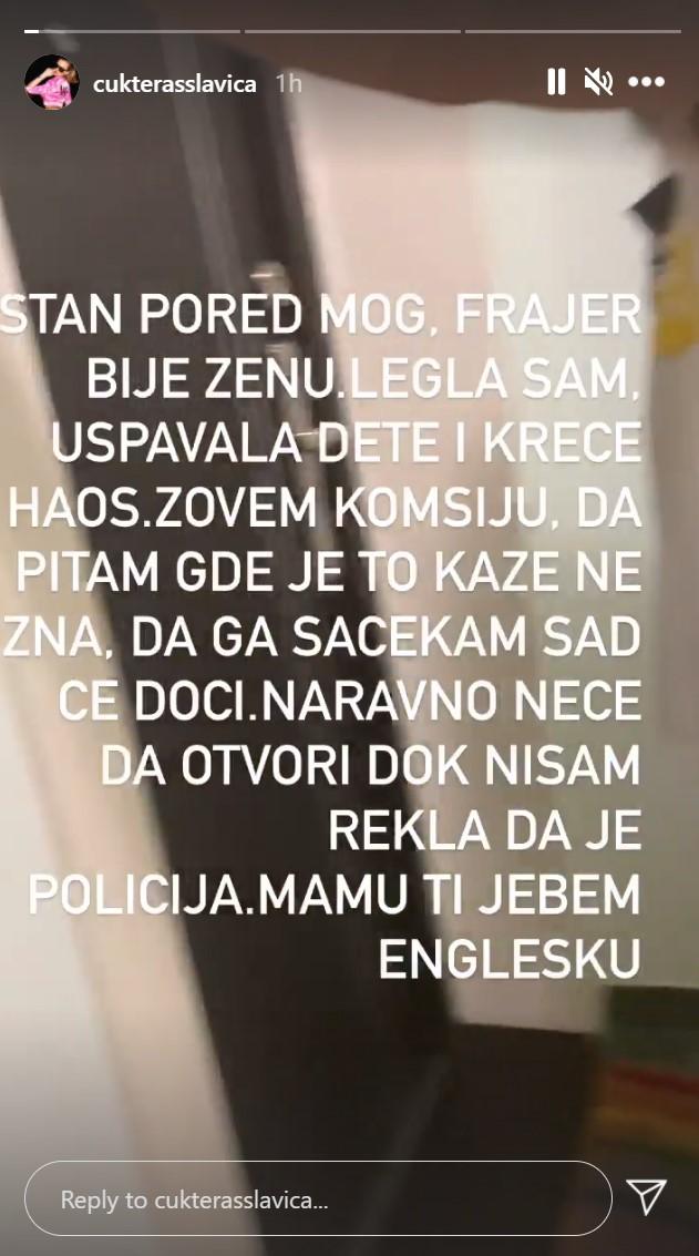 Slavica Ćukteraš instagram story