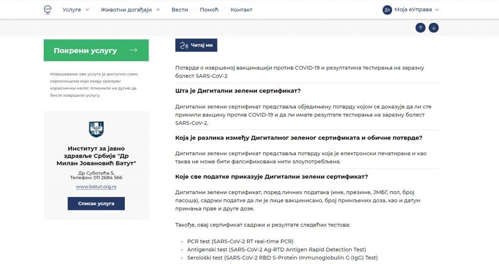prijava za digitalni zeleni sertifikat