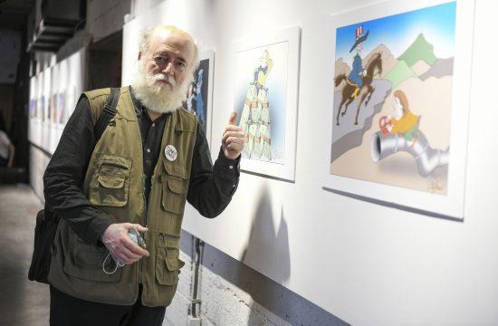Predrag Koraksić Corax, karikatura, karikature, izložba, otvaranje, Dorćol plac, Dorćol Platz