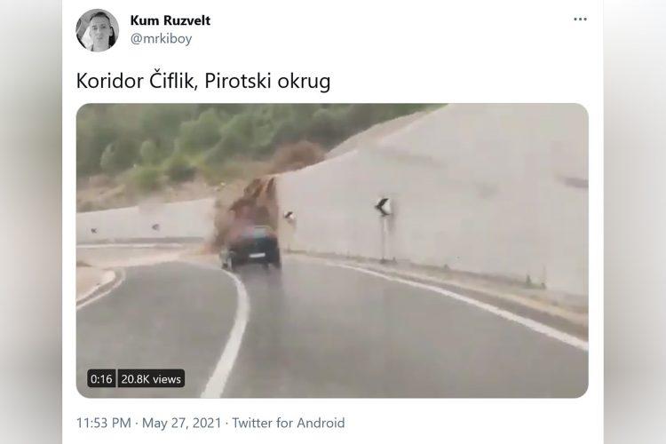 Koridor Čiflik, Pirotski okrug, put, zemlja, odron