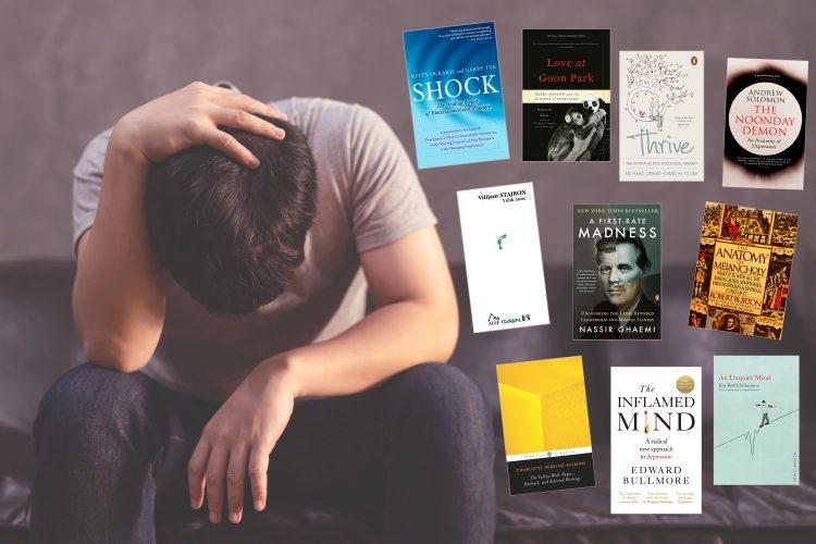 Muškarac, depresija, knjige, korice