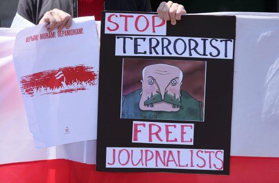 Belorusija novinari, Lukašenko, protest