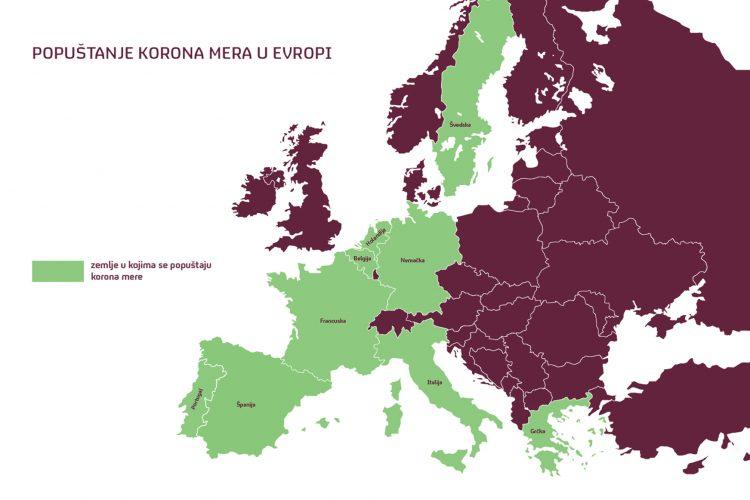 Popustanje mera u Evropi mapa