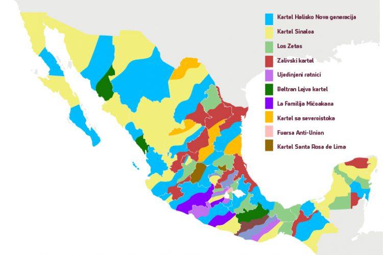 Mapa Meksiko kartel