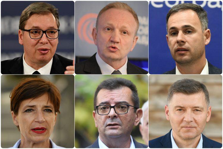 Aleksandar Vucic, Dragan Djilas, Miroslav Aleksic, Dragana Rakic, Janko Veselinovic i Nebojsa Zelenovic