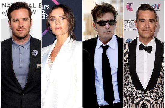 Armie Hammer Victoria Beckham Charlie Sheen Robbie Williams, Armi Hamer, Viktorija Bekam, Carli Sin, Robi Vilijams