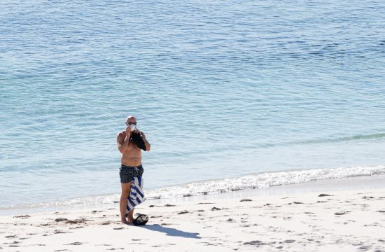 plaža, more, maska