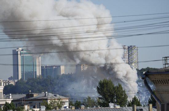 Rusija, Moskva, požar, pirotehnika