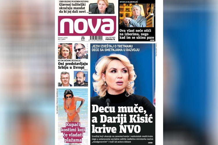 Dnevne novine Nova, dnevni list Nova, drugi broj, naslovna strana