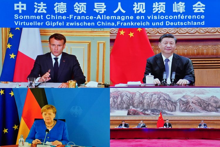 Emanuel Makron, Si Dji Ping i Angela Merkel