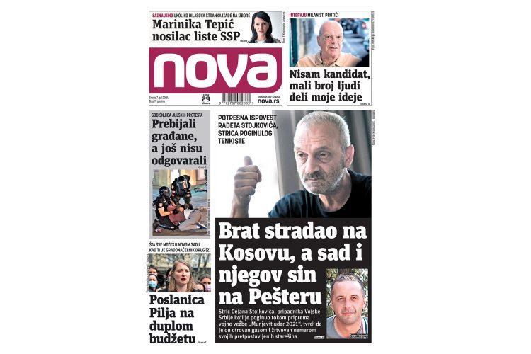 naslovna strana za 07. jul dnevne novina Nova