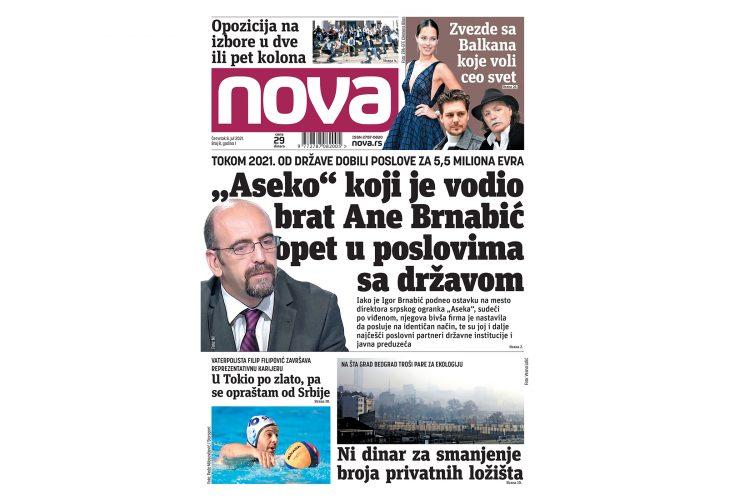 Naslovna strana dnevne novine Nova za 08. jul