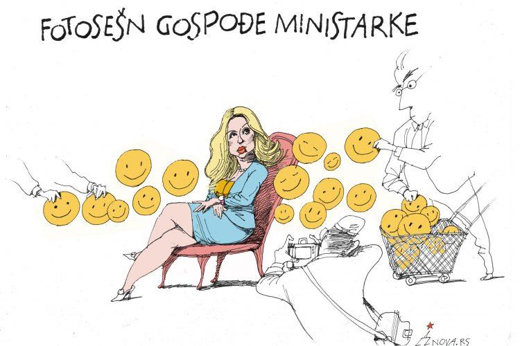 Fotosešn gospođe ministarke, Fotosešn gospodje ministarke Karikatura Dušan Petričić