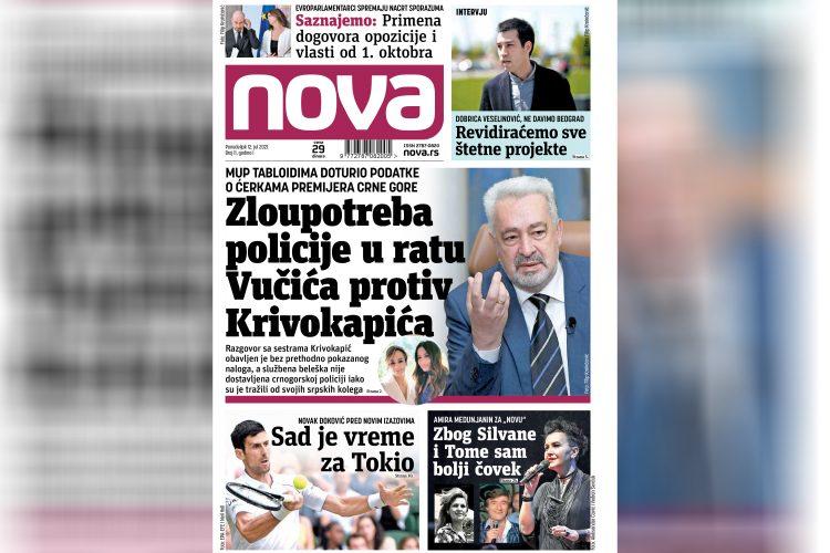 Nova, za ponedeljak 12. jul, broj 11, dnevne novine Nova, dnevni list Nova