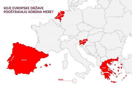 Mapa Evropa poostravanje korona mera