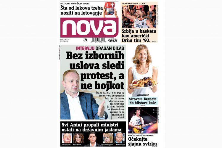 Nova, naslovna za petak 16. jul, broj 15, dnevne novine Nova, dnevni list Nova