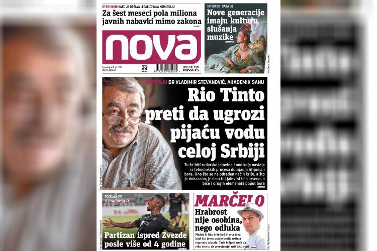 Nova, naslovna za ponedeljak 19. jul, broj 17, dnevne novine Nova, dnevni list Nova