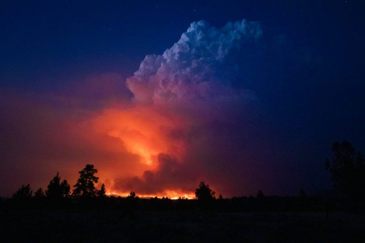 Oregon, Amerika, šumski požar