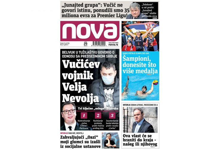 Naslovna strana dnevnih novina Nova za 23 jul 2021
