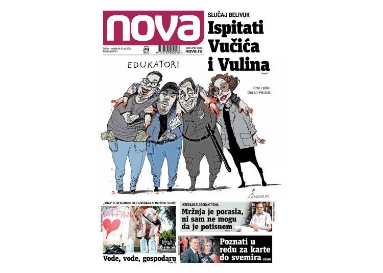 Naslovna strana dnevnih novina Nova vikend izdanje za 24 jul 2021