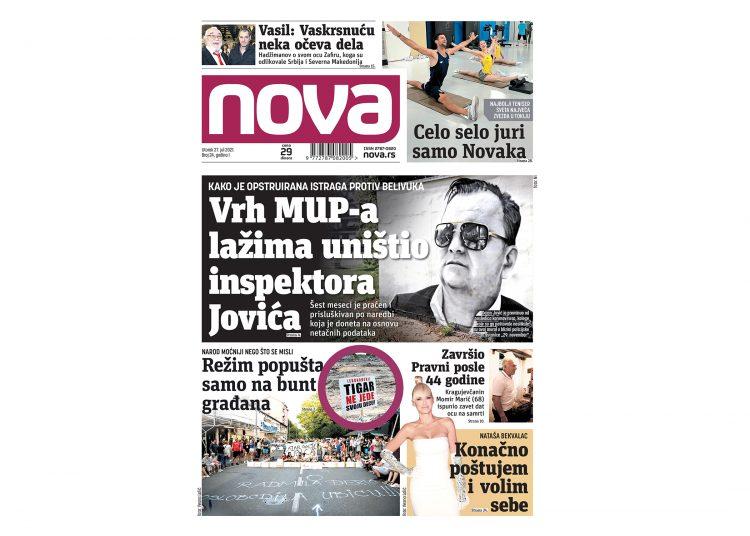 Naslovna strana dnevnih novina Nova za 27. jul 2021
