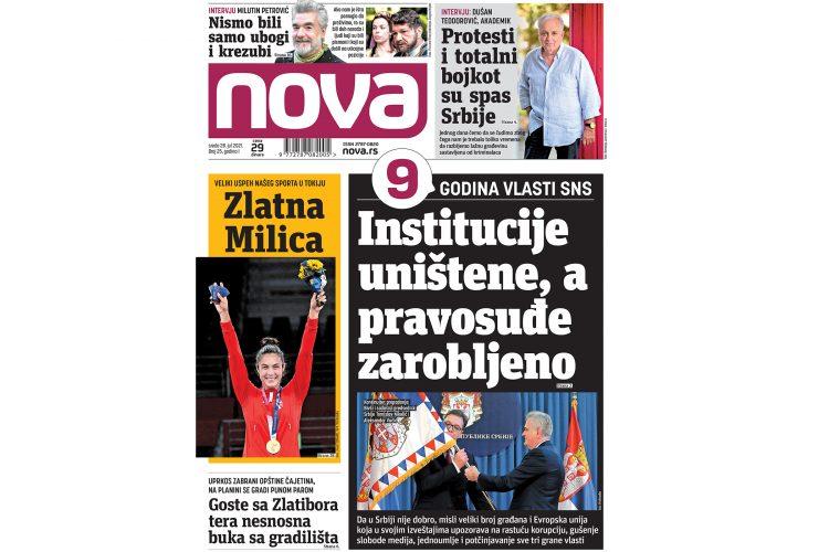 Naslovna strana dnevnih novina Nova za 28. jul 2021.