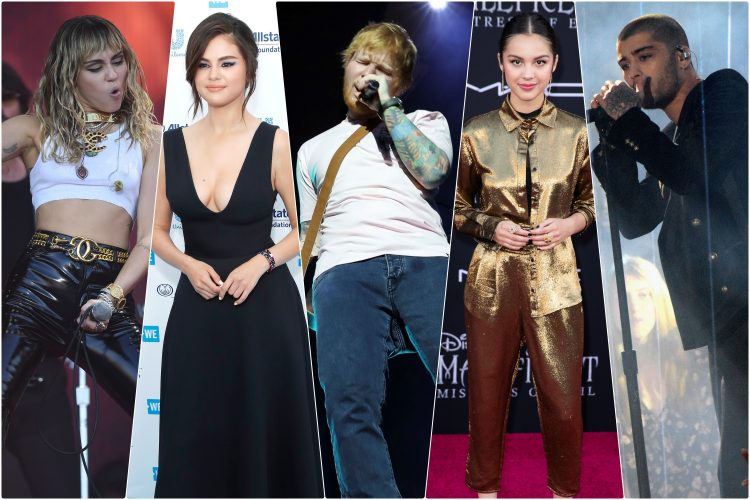 Majli Sajrus, Ed Širan, Selena Gomez, Olivia Rodrigo, Zejn