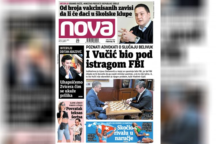 Nova, naslovna za sredu, 04. avgust, broj 31, dnevne novine Nova, dnevni list Nova