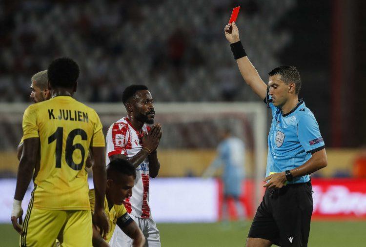 FK Crvena zvezda, FK Šerif Kanga isključenje crveni karton