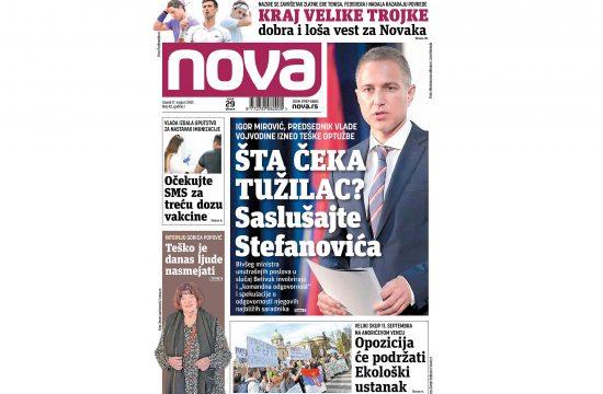 Naslovna strana dnevnih novina Nova za 17. avgust 2021