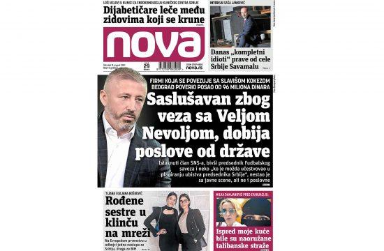 Naslovna strana dnvenih novina Nova za 19. avgust 2021. godine