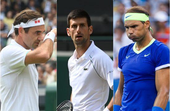 Rodzer Federer Novak Djokovic i Rafael Nadal